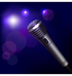 Microphone emblem on dark background vector