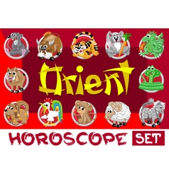 Orient horoscope set vector