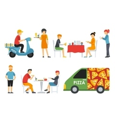 Pizza people in a interior flat icons set vector