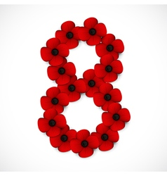Poppies number eight vector