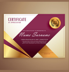 premium certificate design template with modern vector image vector image