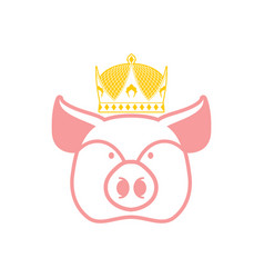 royal pork pig in crown sign for meat production vector image vector image