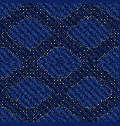 seamless texture blue denim with printed gold vector image