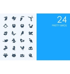 Set of blue hamster library pretty birds icons vector