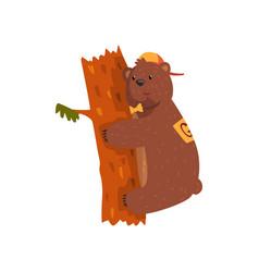 smiling wild bear hugging tree trunk cartoon vector image vector image