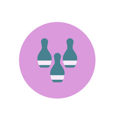 Stylish icon in color circle bowling skittles vector