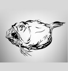 Tatoo fish drawing ink white and black vector