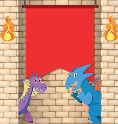 Two dragons behind the brick wall vector