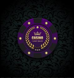 vip poker luxury purple chip casino logo vector image