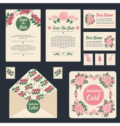 Wedding invitation stationary set floral decor vector
