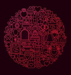 Wedding line icon circle concept vector