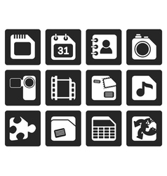 Black mobile phone computer and internet icons vector
