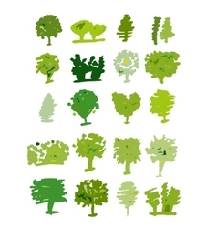 Trees collection sketch for your design vector