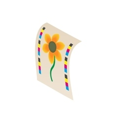Flower printed on printer icon cartoon style vector