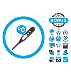 Celsius temperature flat icon with bonus vector