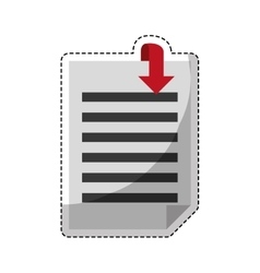 paper pages with download arrow vector image