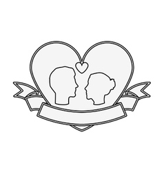 Silhouette profile face engagement inside of heart vector