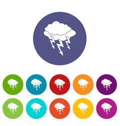 lightning bolt icons set flat vector image