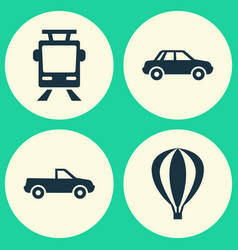 transport icons set collection of airship vector image