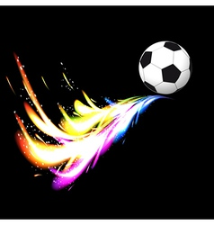 Soccer ball with glowing tail vector