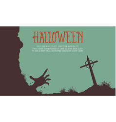 Halloween with grave background card vector