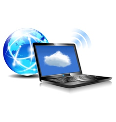 Internet globe and laptop cloud world vector
