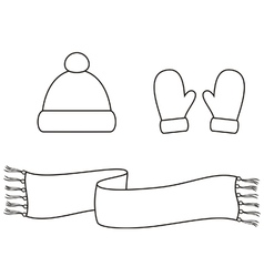 Cap mittens scarf vector image