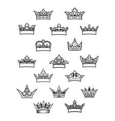 Heraldic king and queen crowns set vector image