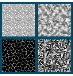 Set of 4 seamless black and white textures vector