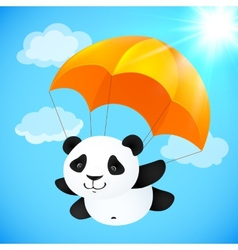 Funny cute panda flying with orange parachute vector