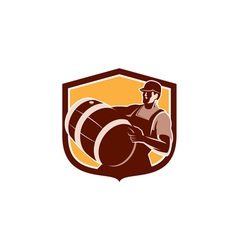 Bartender Carrying Beer Barrel Shield Retro vector image