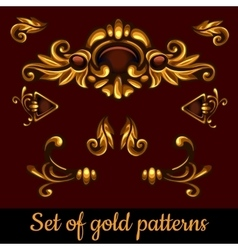 Set of golden volume patterns vector