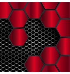 geometric pattern of hexagons red metal plates vector image