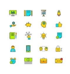 Line icons with flat design elements vector