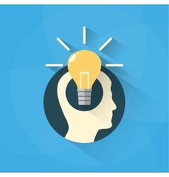 Idea concept with head and bulb vector image