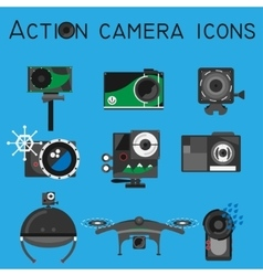 Action camera set flat style vector