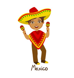 Boy in mexico country national clothes wearing vector