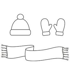 Cap mittens scarf vector