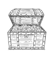 Cartoon drawing of old open pirate treasure chest vector