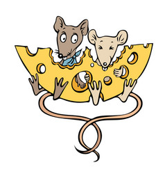cartoon image of mice with cheese vector image vector image
