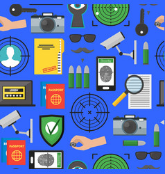 cartoon security and spy background pattern on a vector image vector image