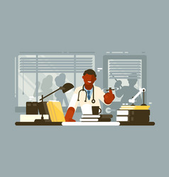 Chief doctor of hospital in office vector
