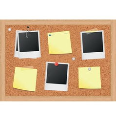cork bulletin board with notes and photos vector image vector image