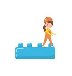 Cute girl builder and buiding toy block preschool vector