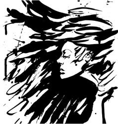 Dark Queen Fantasy black hair Drawn ink vector image vector image