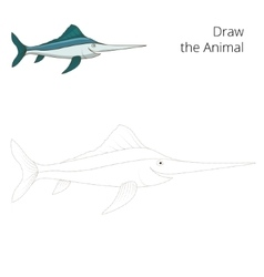 Draw the swordfish educational game vector image