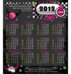 emo calendar for 2012 vector image vector image