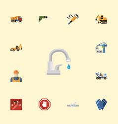 flat icons stop sign mitten electric screwdriver vector image