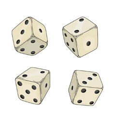 Four colored cartoon-style dice cubes vector image