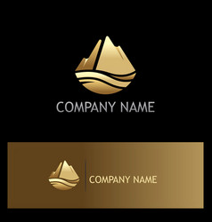 gold ice mountain nature logo vector image